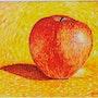 Variationen über ein Apfel, Malerei auf Papier. Sculpteur / Tauzia Jean-Pierre