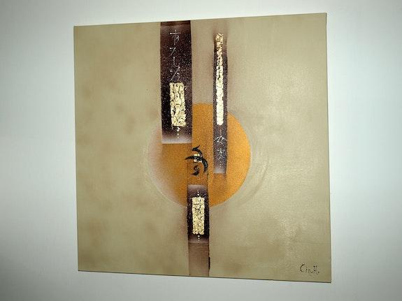 Modern beige canvas 3d Asia choco. Beige and chocolate, gold leaf. Dime. Alcina Alves Cin. A