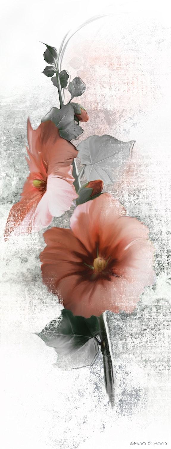 Tige de rose tremiere. Christelle Dautreix-Aitsiali Christelle D-Aitsiali