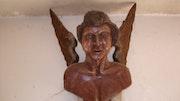 Anjo entalhado em madeira muito antigo ! ! ! !. Alberto Pereira Alberto