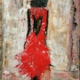 Red silhouette acrylic on canvas painted with a knife, unframed. Eva