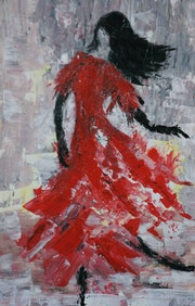 Dance in the wind acrylic on canvas, painted with a knife.