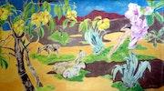 Las cabras en el Sahara tropicales.