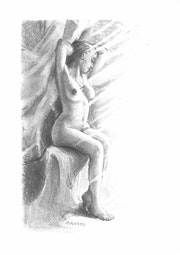 22 Pencil drawing nude pencil on paper drawing. Delatour