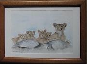 Mama Löwin und ihre Jungen. Jean-Pierre Lemoine