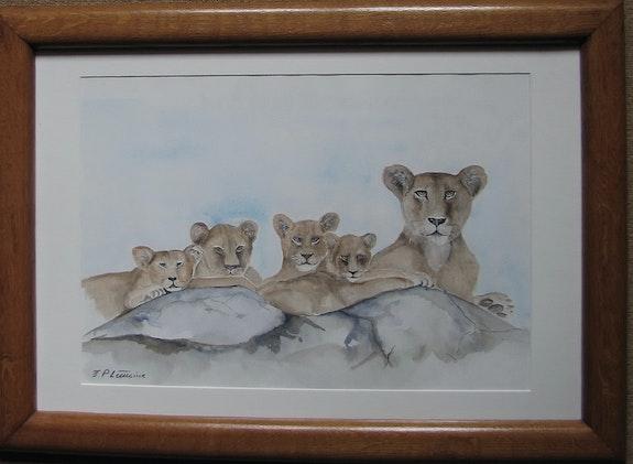 Mamá leona y sus cachorros. Jean-Pierre Lemoine Jean-Pierre Lemoine