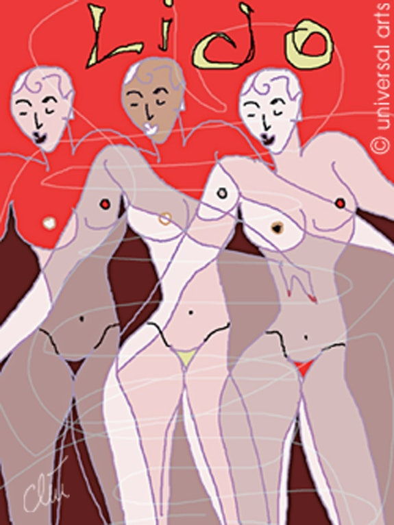 Paris Lido Dancers - limited original graphic - Jacqueline_Ditt. Jacqueline Ditt Universal Arts Galerie Studio Gmbh
