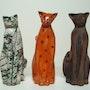 Trio de chats terre cuite raku. Nancy Leloup