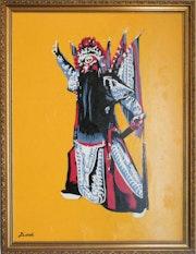 Opéra chinois - Danseur - laque sur toile. Peintre