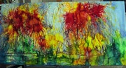 Abstrait encaustique sur toile (cire d'abeille colorée) «feu d'artifice».