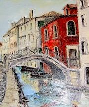 Un viejo puente en Venecia, Italia. Marie-Thérèse Vion