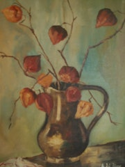 Terracotta vase with inside branches of love in a cage (physalis).