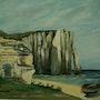 Magníficos acantilados de Etretat hecho con un cepillo. Andre Blanc
