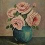 Vase de porceleine avec des roses roses d'un tres bel effet. Andre Blanc