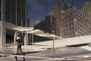 Reflections Uptown New York und Empire State Bulding Columbus Gebiet und Schnee.