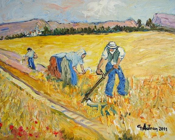 Trois paysans au champ, Page 2, Georges Autran, Peintres, Artistes