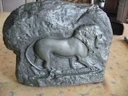 Lion platre patiné vert bronze. Michel Rodien