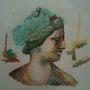 Étude aquarelle couleurs complementaires a partir d'un buste sculpté. Forangeart F. Baldinotti Peintre De l'air