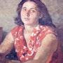 Portrait de la femme… Huile sur toile Auuf… 1958!. Axel Zwiener