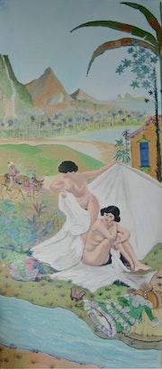 Polynesia women bathing early nineteenth. Cadilhac Jean