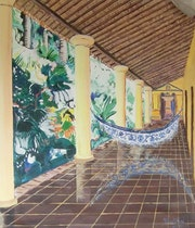 Patio exterieur de l'hacienda Santa FiLOMENA (jaji).