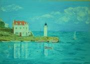 """""""Sauzon Little Harbour"""". Anne-Marie Duval"""