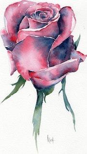 Acuarela original, «Rose», producido en 300 g de papel Canson de Tubuai.