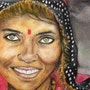Oil pastel, original, «Hindu Women, » performed on Arches paper. Alexandra Cosoleto