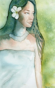 "Original watercolor, ""Polynesian"", performed on Arches paper 300g."