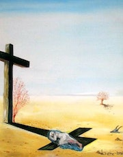 In the shadow of the cross.