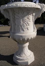 Jarrón de Versalles de la musica macetero de mármol blanco. Opus Romano Xxi Sl