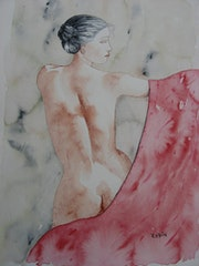 Nude with towel.
