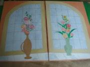 Rundbogen-Blumenfenster.