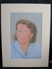 2007 pastel portrait of mother, her beautiful blue eyes..