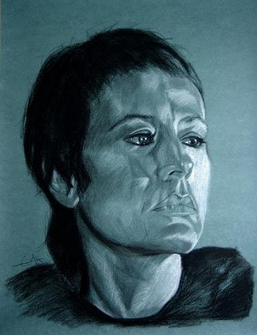 Annie Girardot, charcoal portrait.. Philippe Flohic