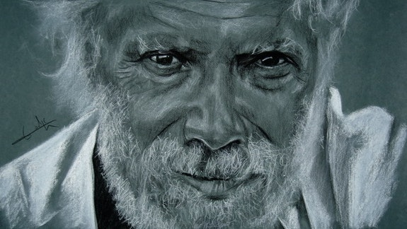 Georges Moustaki, charcoal portrait. Philippe Flohic Philippe Flohic