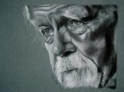 Michael Lonsdale, charcoal portrait. Philippe Flohic