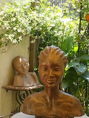 Bust affriquaine made earthen plaster cast and then. Christine Dupont Btz