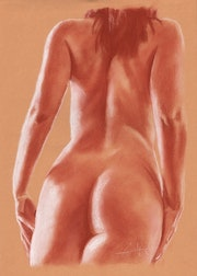 Blood naked woman from behind.