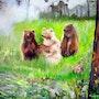 Jeunes ours aux aguets. Annie Mary