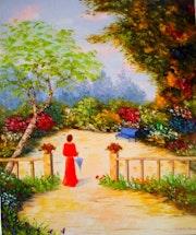 Jardín romántico en el parque..