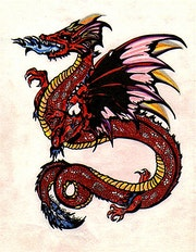Red dragon tattoo. Ewavende
