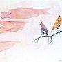 Dos ballenas de un pájaro en el cielo. Sculpteur / Tauzia Jean-Pierre