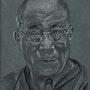 Dalai Lama, Holzkohle. Philippe Flohic