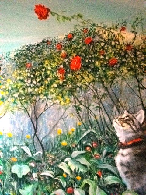 Chat au jardin. Miaolo Miaolo