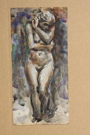 """Aquarell von """"Eve"""" (ca. 1881) De Rodin. Francisco Novella Mínguez"""