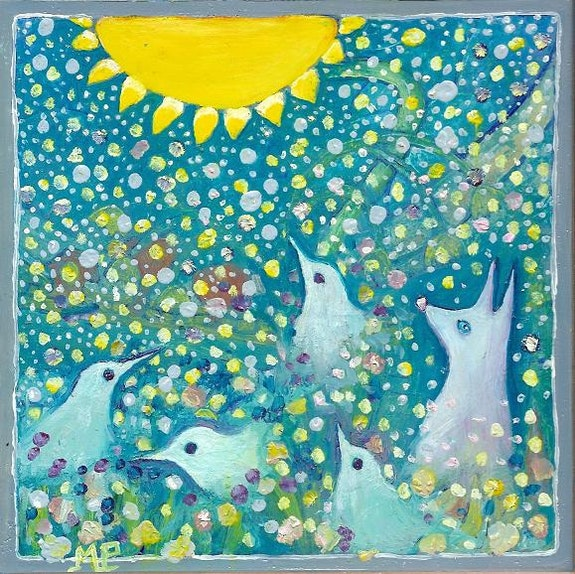Pigeons chien au soleil. Mariepierre Mariepierre