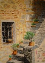 Cactus en las escaleras de la Toscana.