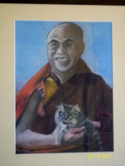 His Holiness the Dalai Lama and his cat. Annie Verdegen