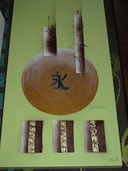 Moderne abstrakte Leinwand Asien lindgrün Schokolade.